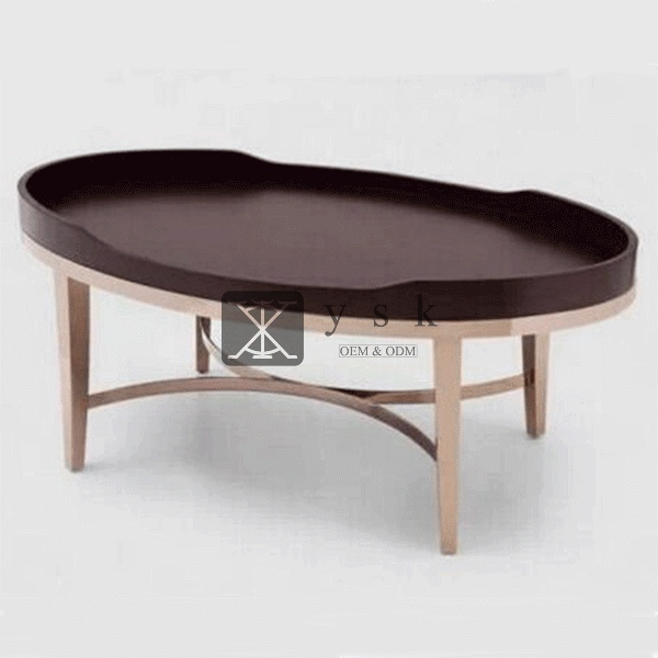 Ct 294 Living Room Furniture Oval Shape Wooden Coffee Center Table Ysk Hotel Furniture